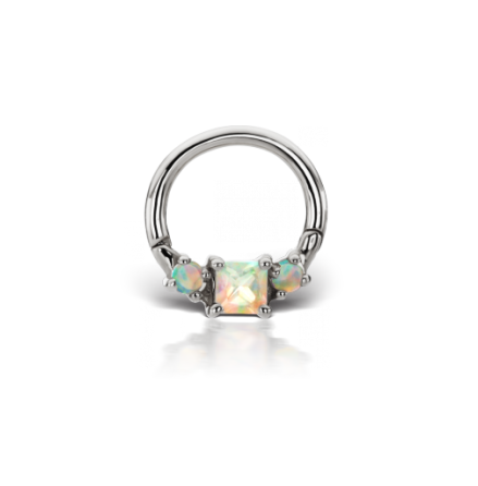 Clicker 14g 5/16 Titan with Princess cut opal
