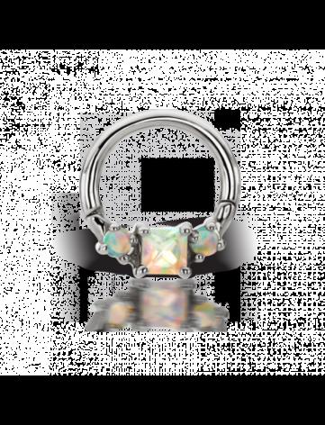 Clicker 14g 5/16 Titan with Princess cut opal