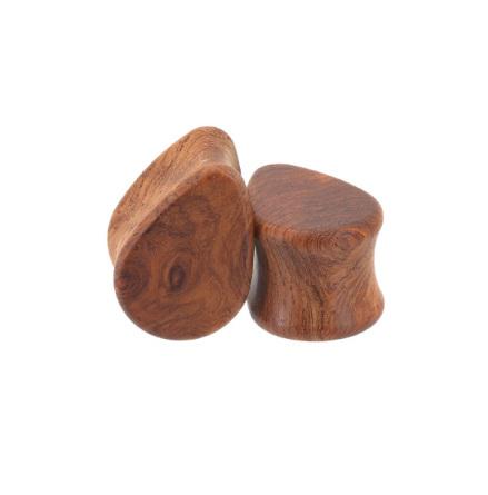 Droppformade pluggar i amboyna burl-trä