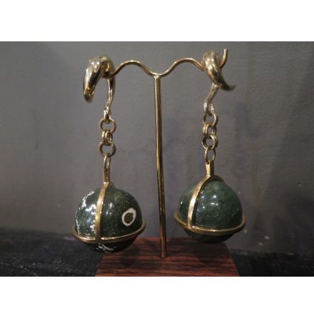 Solid Brass Globes in Ocean Jasper with Large solid brass coils (2g) 6.5mm