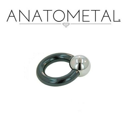 Ring i niobium med hematitkula (1.6mm)