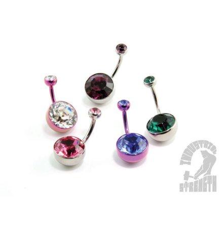 Bezel-set Faceted Gem Curved Barbells 10mm bottom white gem