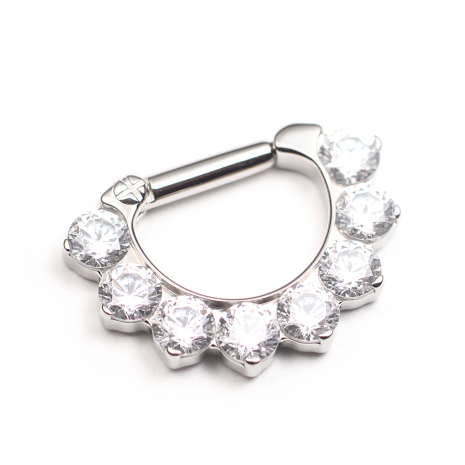 Titanium Prong-set 8 Faceted gems Septum Clicker 1.6x.6.3mm - Vit