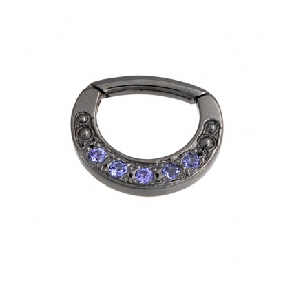 4GA 5/16in Jenn - Hinge Ring with 3.5mm Delicate Crescent and Pavé 5x 1.5mm Gems