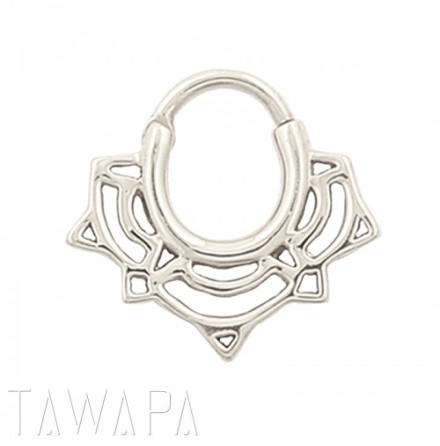 Lace Lotus Septum Ring Silver 1.6x7.9mm