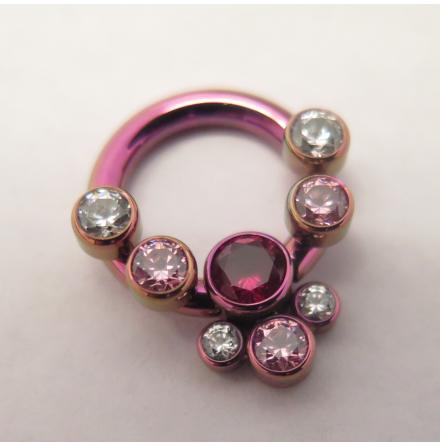 Forward Facing Circular barbell, 4 threaded ends + clip-in cluster