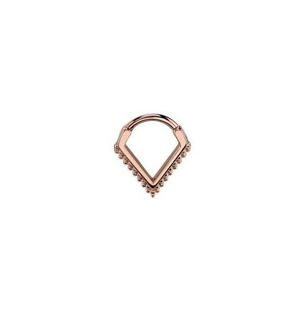 14GA 5/16in Ophelia  - Hinge V Ring with  Micro Beads Rosegold