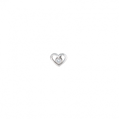 Heart of Paul in white  gold-6mm-1.5mm Bezel in Center 1.5mmDIAMOND VS push-pin