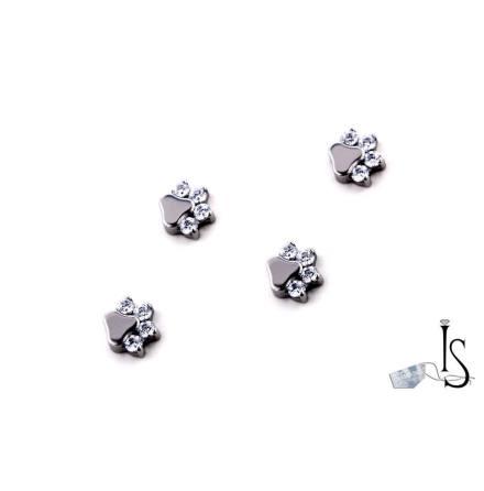Threaded paw prints 14g with white svarowski 4x1.5mm