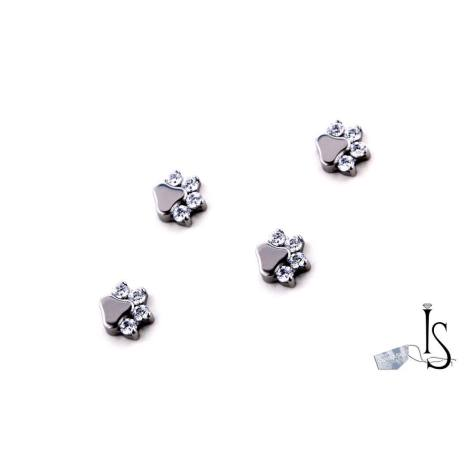 Threaded paw prints 14g with white svarowski 4x1.5mm