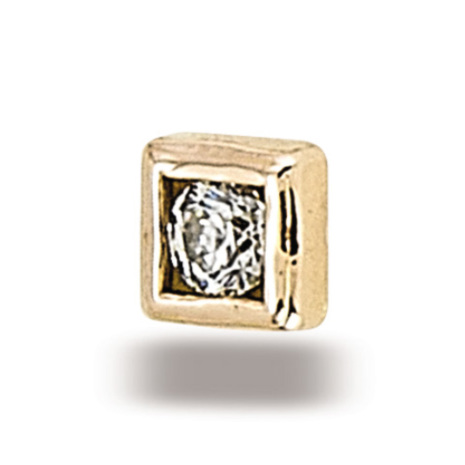 Square Circle in yellow gold with  2mm round stone CZ