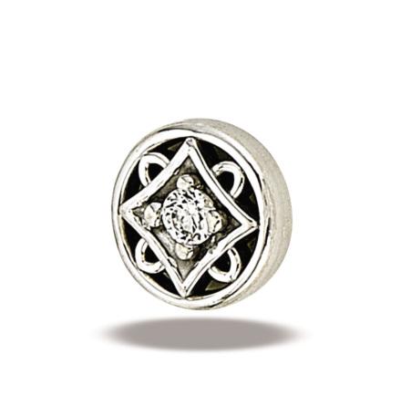 Deco Circle 2mm stone (6.6mm), Whitegold
