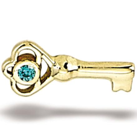 Skeleton Key 1mm (7.4mm x 3.25mm), Gold