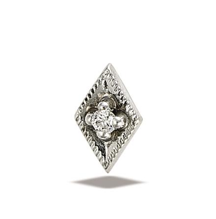 Rhombusi 14k vit guld med 1x1.5mm vit sten