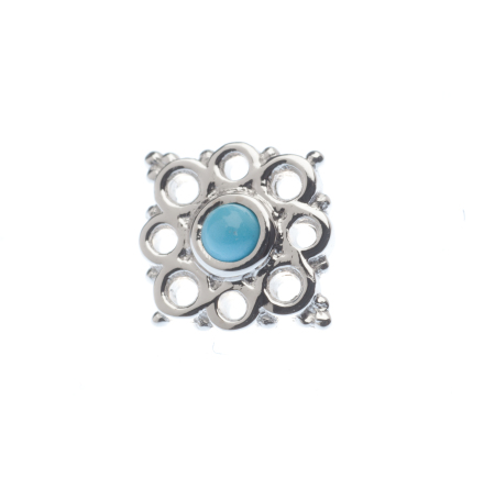 Pin with Angela Cluster - 9x8mm - 2mm Bezel, Surrounded by 4x 1.25mm and 4x 1.5m
