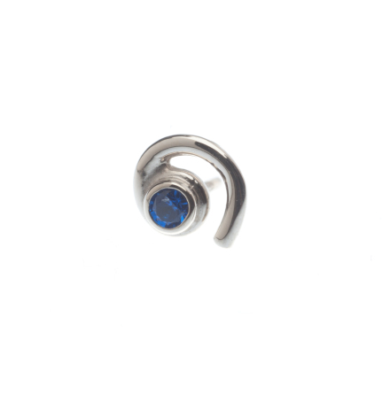 Pin with Single Swirl - 1.5mm Bezel, 1.5mm Synth Dark Blue (1)