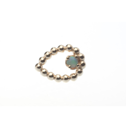 Pin with Beaded Sophie Tear - 6.5 mm x 5 mm - 1.5 mm Prong Set Gem,1.5 mm White OPAL AAA