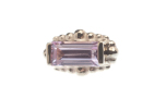 Pin with Baguette and Tiny Graduating Bead Accents - 4x2mm,4x2mm Pink CZ Baguett