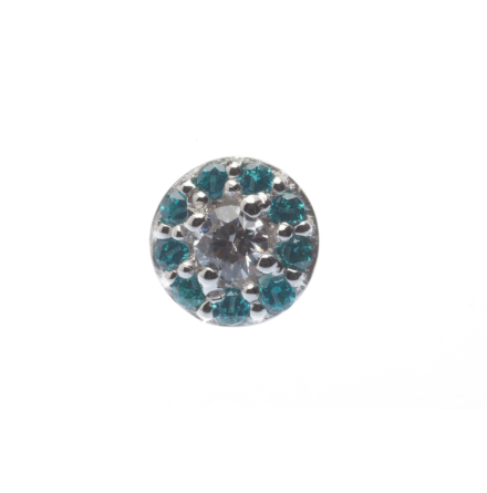 Pin - Altura - 4mm - 2mm Prong Surrounded by 9x 1mm Micro Pave Gems
