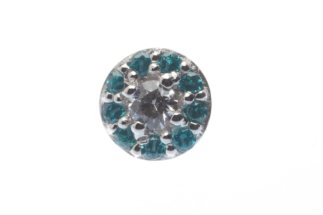 Pin - Altura - 4 mm - 2 mm Prong, surrounded by 9 mm x 1 mm micro pave gems