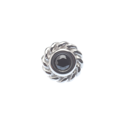 Pin with Mini Choctaw Braided Bezel - 4.5mm - 2mm Gem,  2mm Black CZ (1)