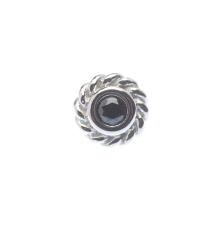Pin with Mini Choctaw Braided Bezel - 4.5 mm - 2 mm Gem,  2 mm Black CZ (1)