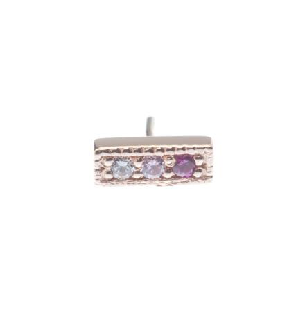 Pin with 3 Gem Micro Pavé Strip - 3x 1.25mm Gems-MILLGRAIN EDGES-GRADIENT GEMS