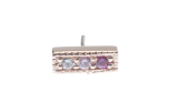 Pin with 3 Gem Micro Pavé Strip - 3x 1.25mm Gems-MILLGRAIN EDGES-GRADIENT GEMS
