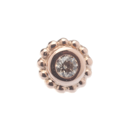 Pin with Beaded Choctaw - 5mm - 2mm Bezel Center,2mm Champagne CZ (1)