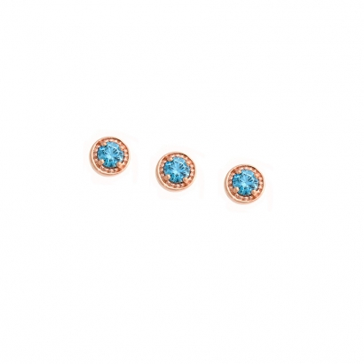 Threaded End with Millgrain Prong  - 4mm  - 2mm Gem 2mm TURQUOISE (1)
