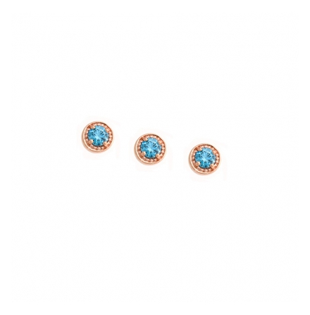 Threaded End with Millgrain Prong  - 4mm  - 2mm Gem 2mm AQUAMARINE AA (1) to fit