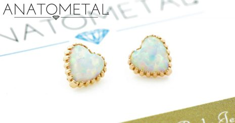 Threaded Hart opal end with pink opal in roségold