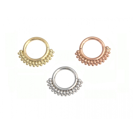 """KOLO""-Rose gold seam ring with tiny tri bead cluster accents 1.6 mm x 7.9 mm"