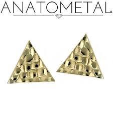 """Hammered triangle"", 18k (push fit)"