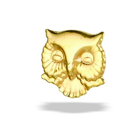 """Owl Head""- 5.2 mm, 14k gold, push pin."