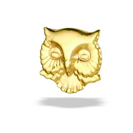 """Owl Head""- 5.2 mm, 14k gold, push pin."