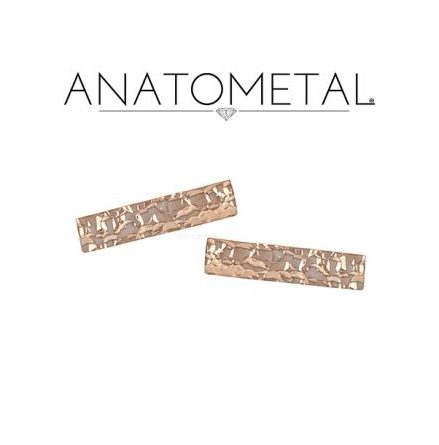 18k Hammered Rectangle end, Bars with push pin