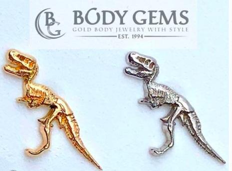 T-Rex- topp till piercingsmycken, 14k gold, threadless