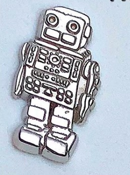 14k Robot in White gold, threadless