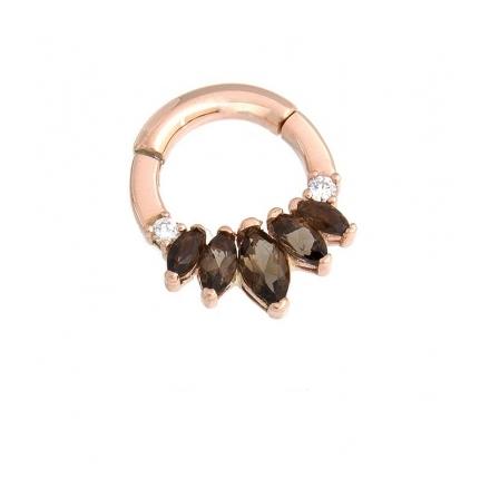 """""""Tesseract""""- rose gold 1.6 mm x 7.9 mm, 2 äkta diamanter och 5 rökvarts-stenar"""