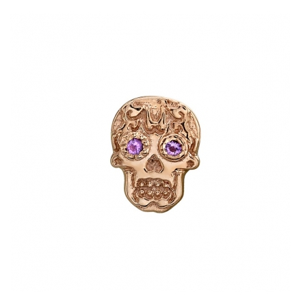 Sugar skull in roségold with cubic zirconia Eyes, threaded for 14g