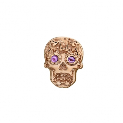 Suger skull in roségoldwith cubic zirconia Eyes, threaded for 14g