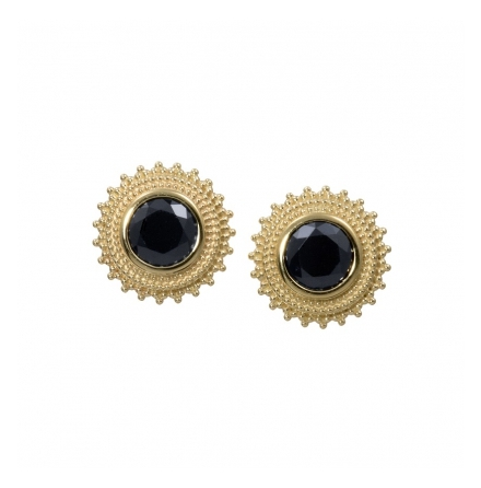 Afghan 8mm in yellow 14k gold, threaded with BlackCZ