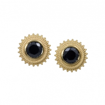 """Afghan""- 8 mm, 14k gold, threaded with Black CZ"