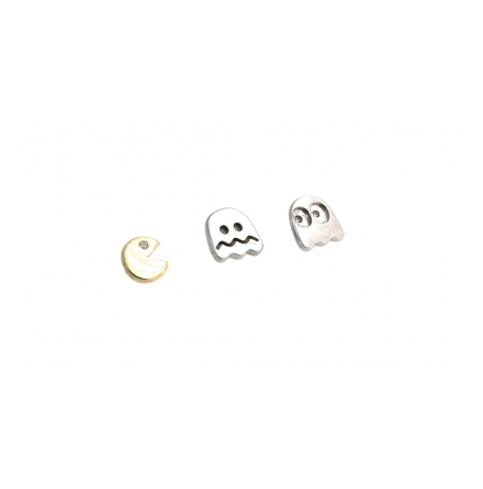 """Pacman & Ghost"" - topp till piercingsmycken, 4.7 mm - 6 mm in Gold, push fit"
