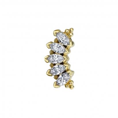 14k ´MARQUISE PANARAYA´ CZ 3x1.5mm gems, for 16g (1.2mm)