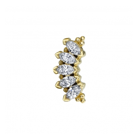 14k ´MARQUISE PANARAYA´ CZ 5x2.5mm gems, fit 14g