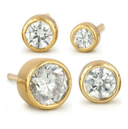 14k yellow gold Bezel-set CZ