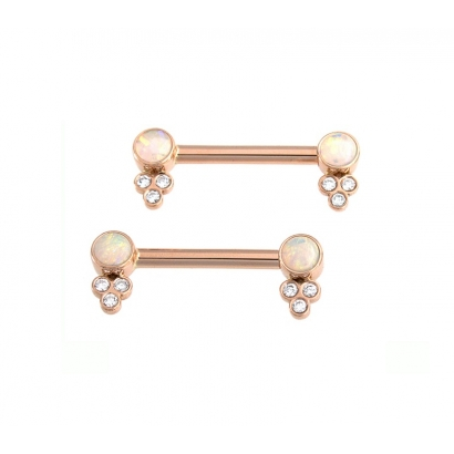 14GA 7/16in Straight Barbell with Forward Facing Open Back Round Bezels - 4mm -