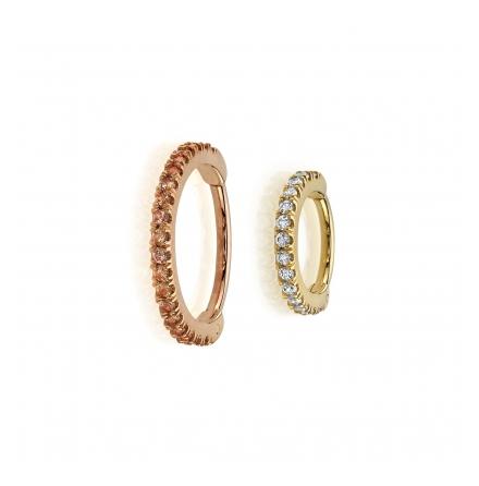 18GA 5/16in Telesto - Seam Ring with Navel Facing Row of 1mm Prongs,1mm White CZ